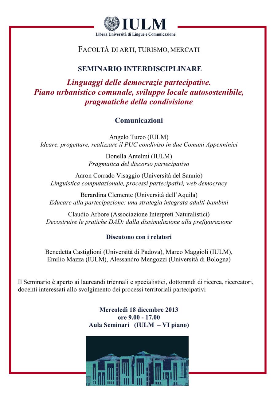 Seminario interdisciplinare su partecipazione alla IULM - Milano